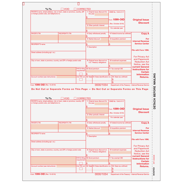Products Tagged 1099 Oid Original Issue Discount 2up Tax Form