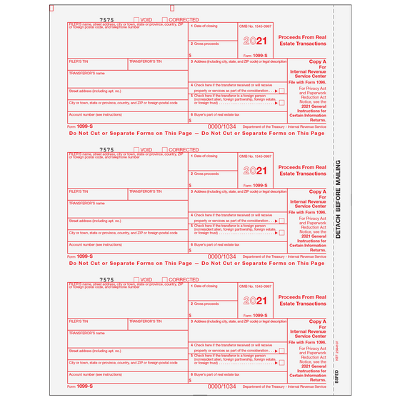 1099 Preprinted Laser Forms Tagged 1099 S Proceeds From Real