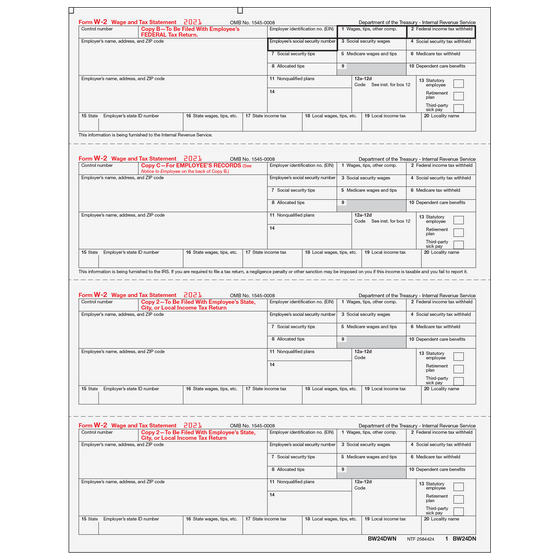 W-2 Preprinted Condensed 2up, 3up & 4up Laser Forms - Tax Form Depot