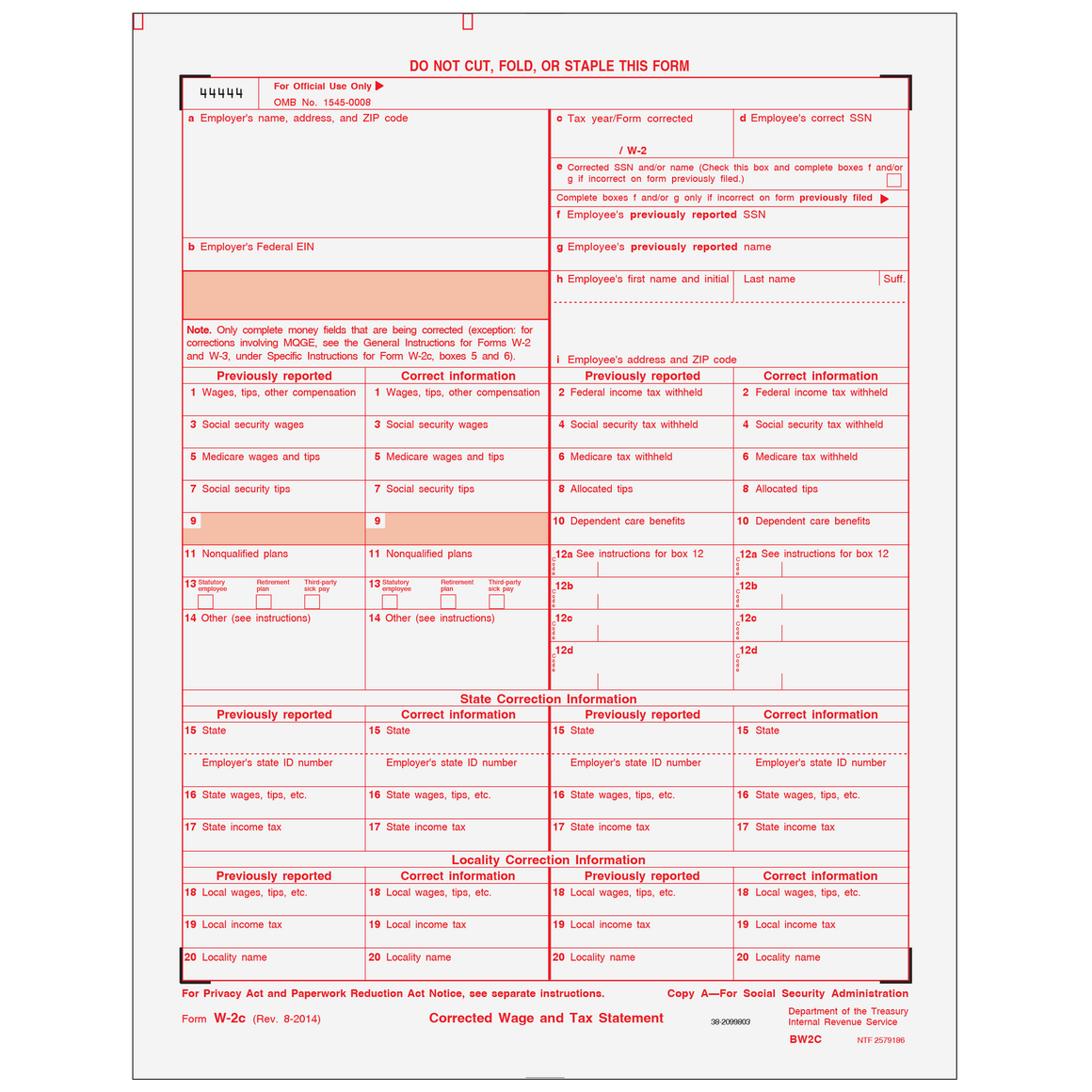 W-2C Employer Federal Copy A