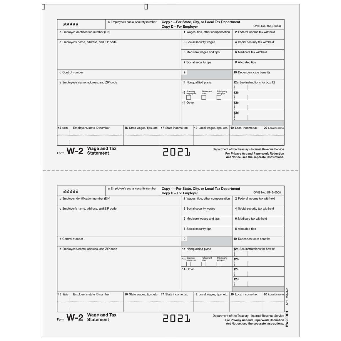 W-2 Employer 2up Copies D/1