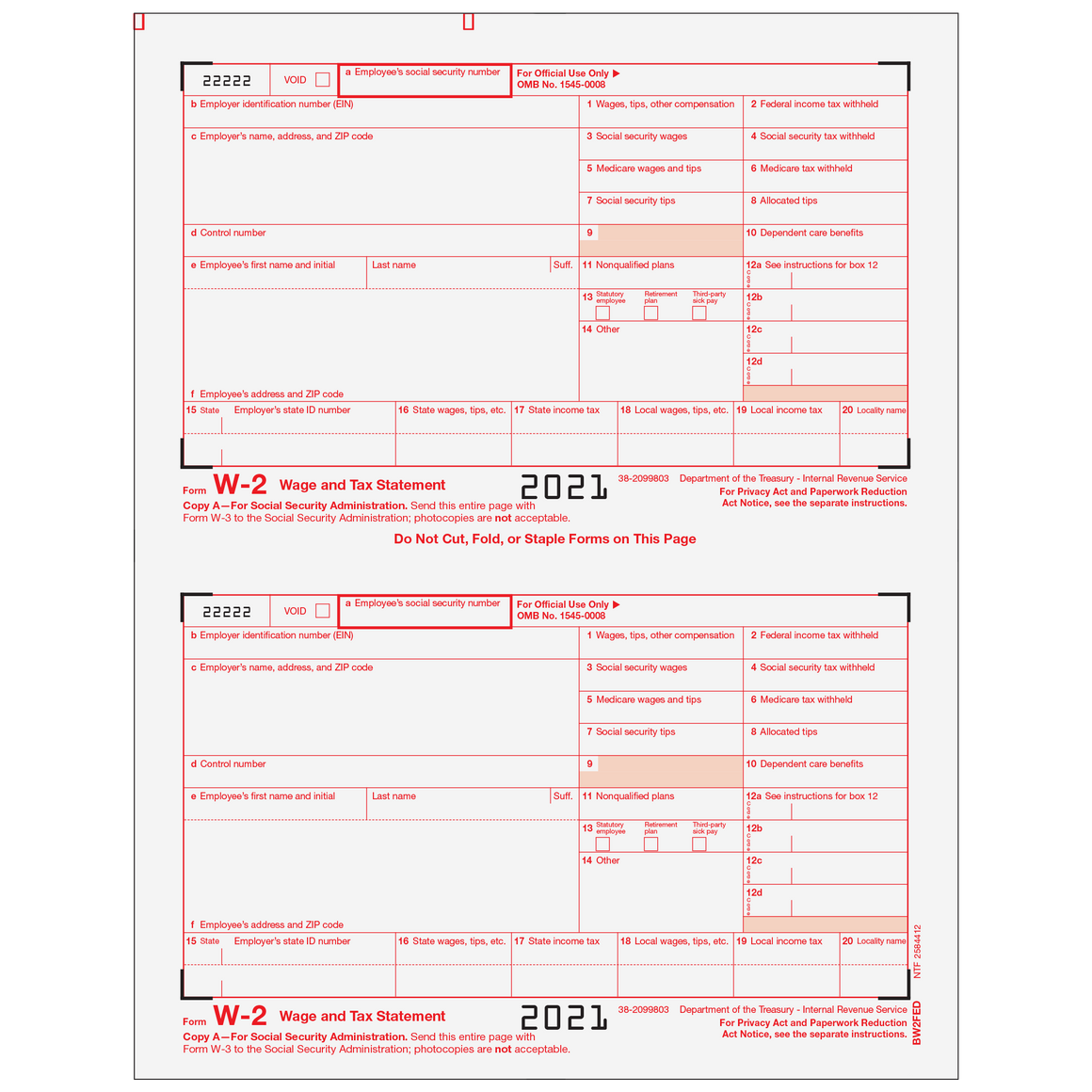 W 2 Products Tax Form Depot