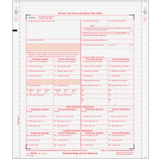 W-2C Corrected Wage and Tax Statement Non-Dated - 6pt