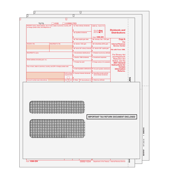 1099-DIV Kit with Self Seal Envelopes - 3pt