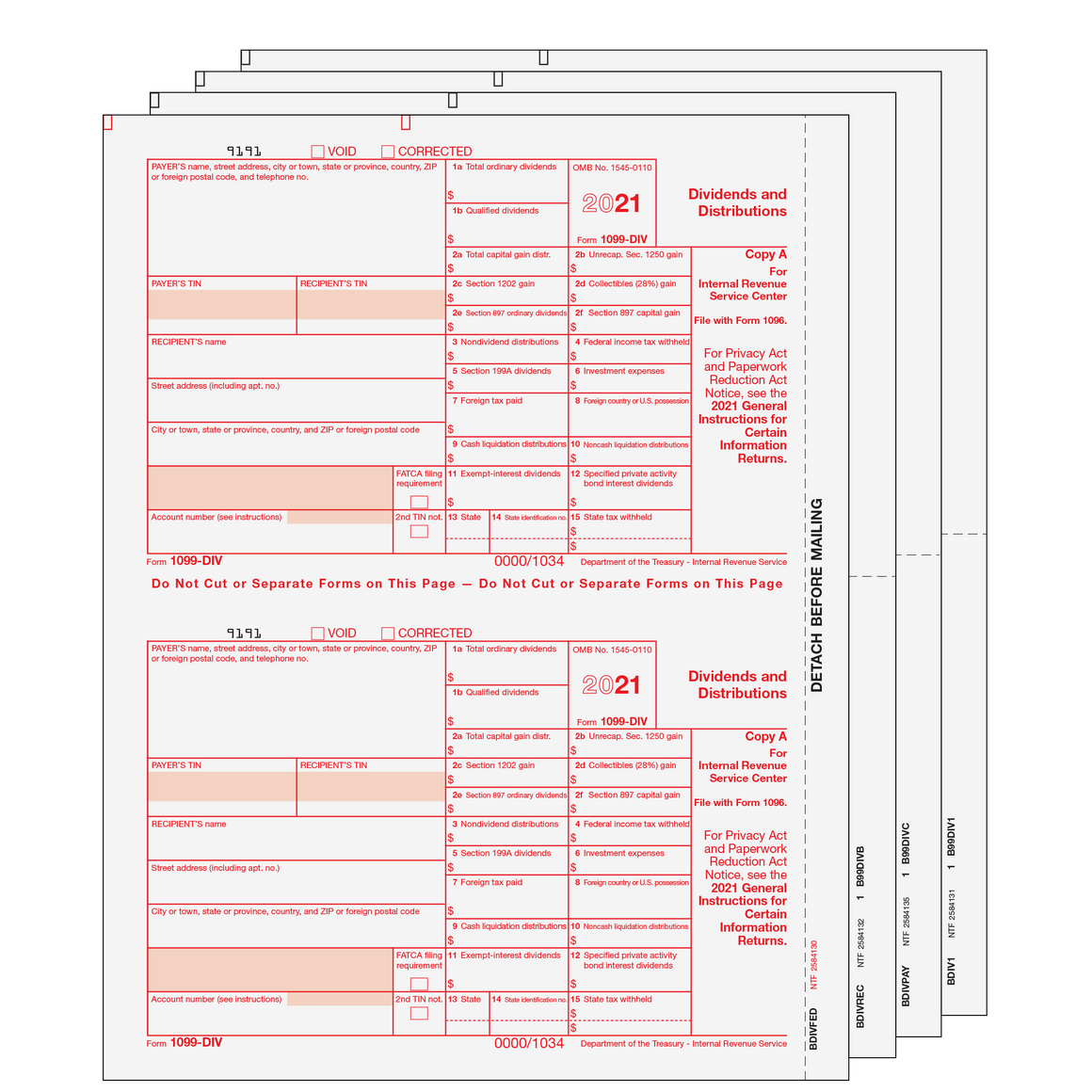 1099-DIV Preprinted Set - 4pt