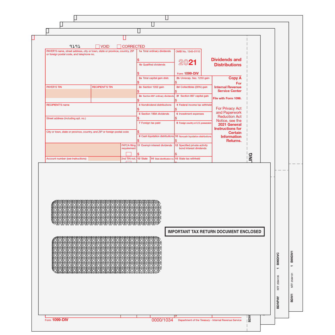 1099-DIV Kit with Self Seal Envelopes - 4pt
