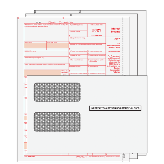 1099-INT Kit with Self Seal Envelopes - 3pt