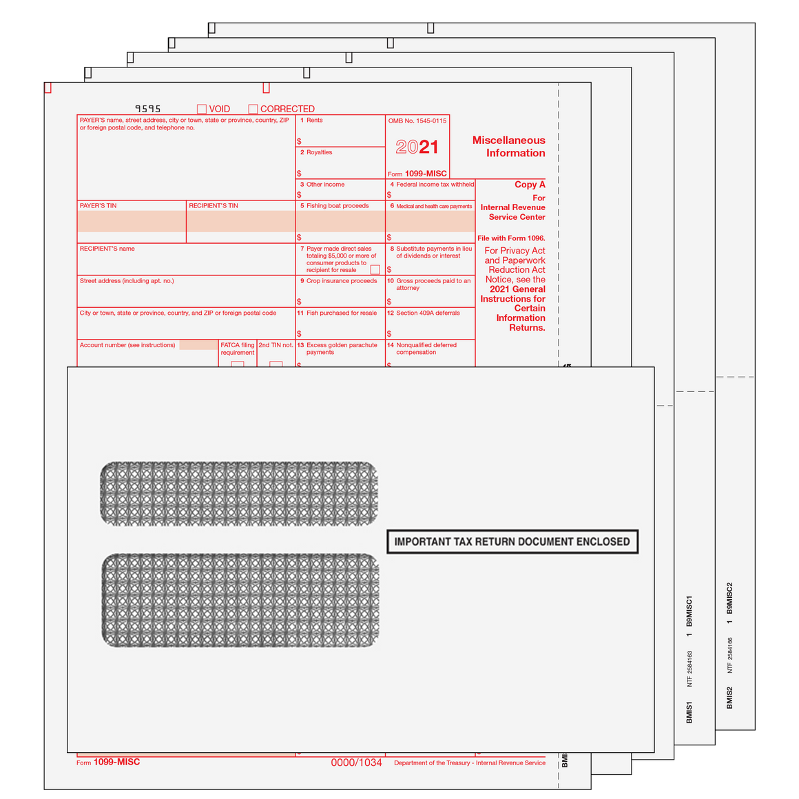 1099-MISC Kit with Self Seal Envelopes - 5pt