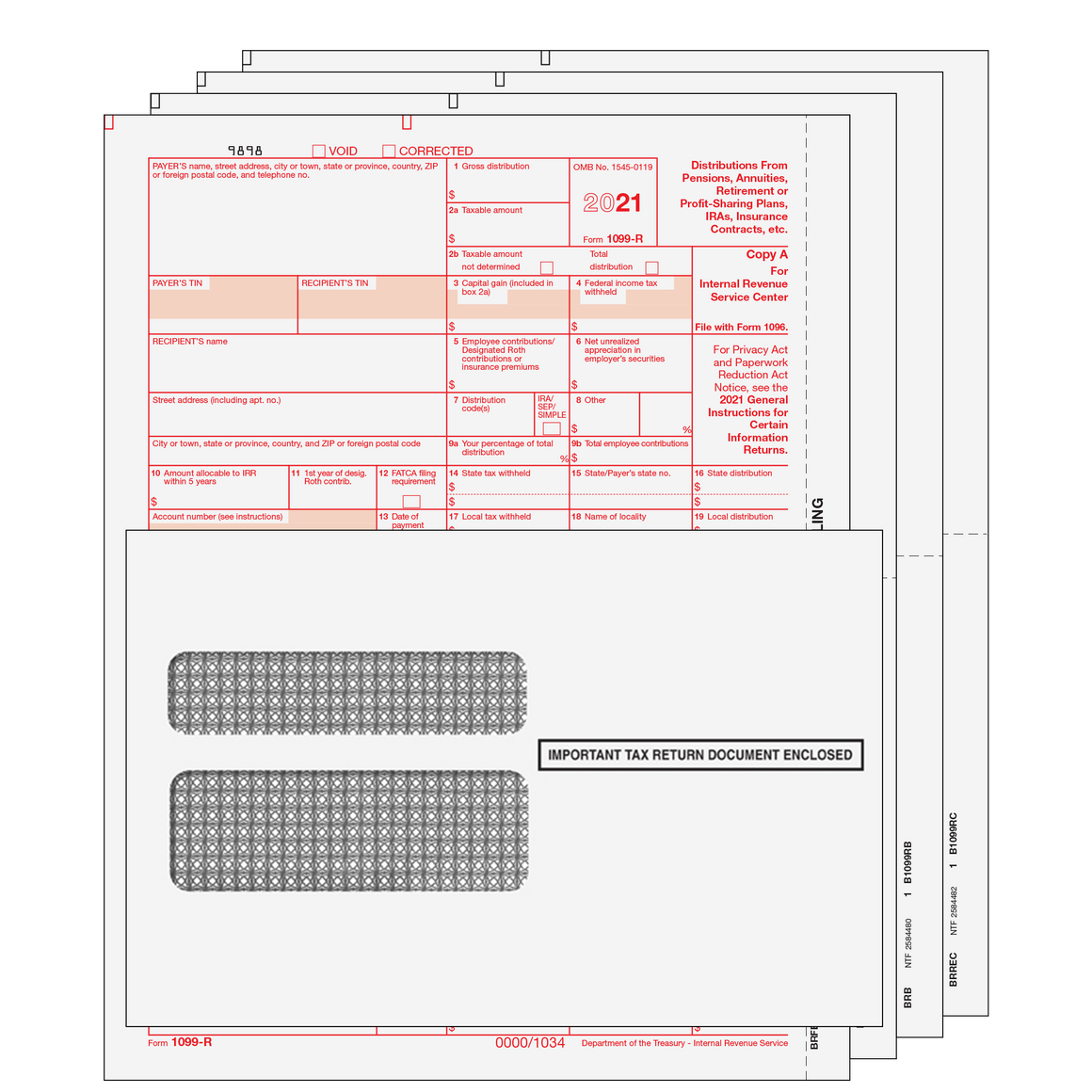 1099-R Kit with Self Seal Envelopes - 4pt