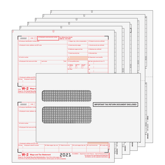 W-2 Traditional 2up Kit w/ Self Seal Envelopes - 6pt