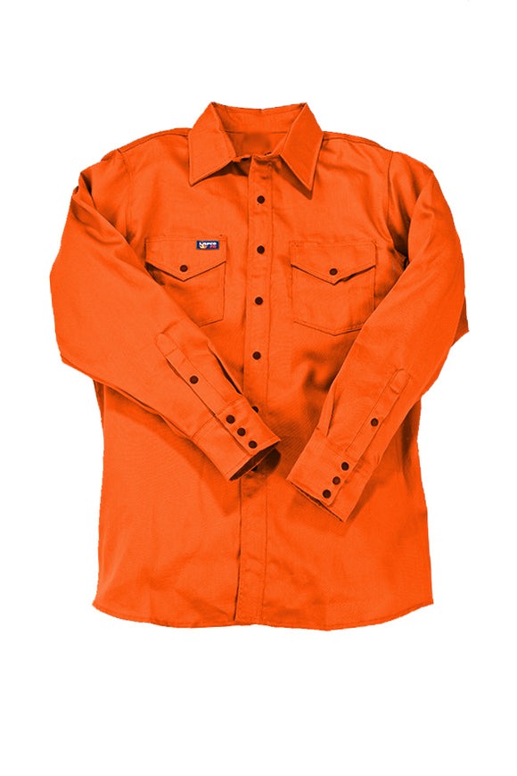 orange fr uniform shirt with black snaps