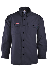 Navy Nomex uniform shirt with snaps
