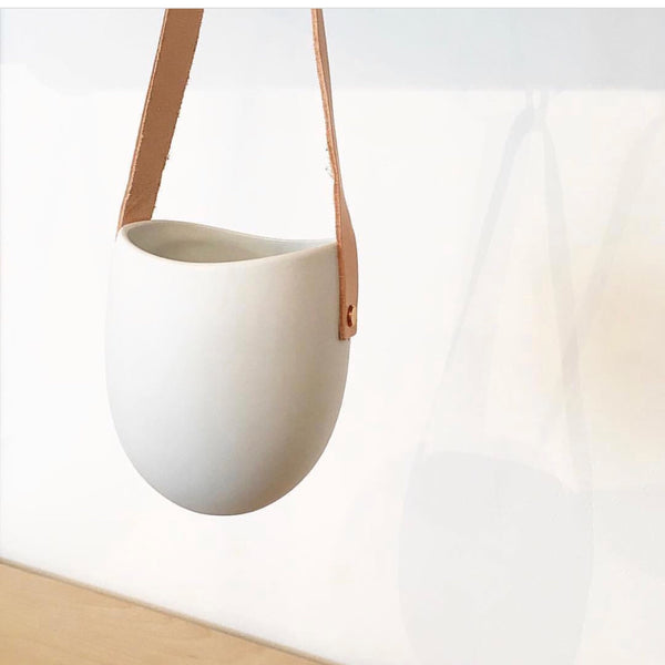 Porcelain + Leather Planter..