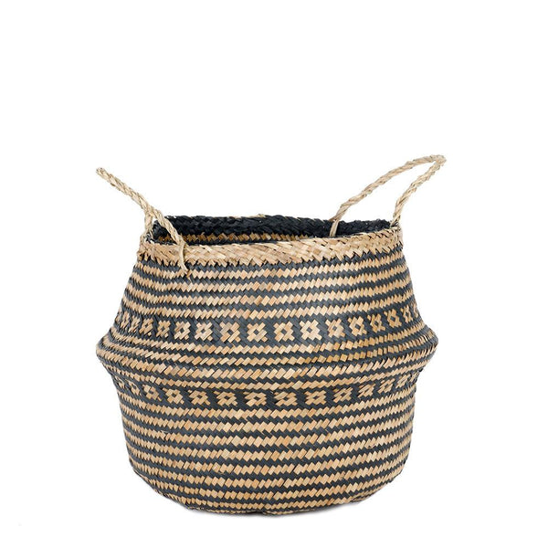 Woven Weave Rice Belly Basket - Black- Medium