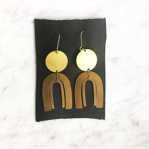 The Sarah- Brass  Arch Statement Earrings