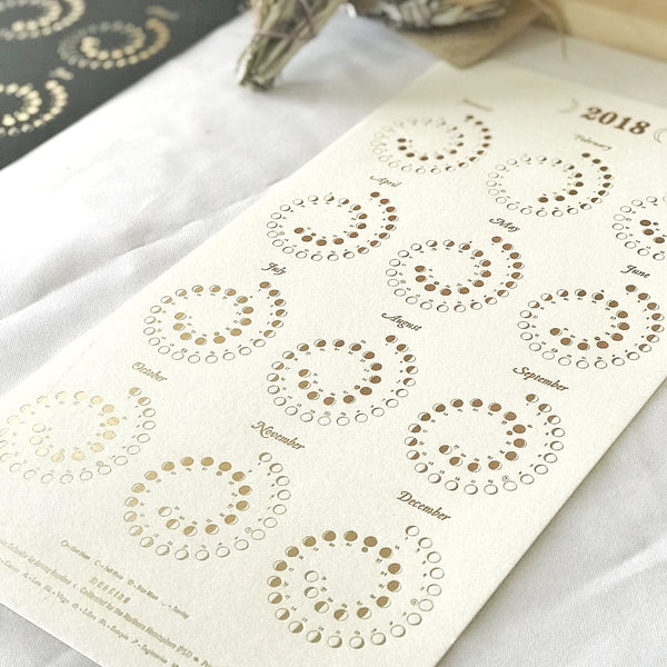 2018 Moon Calendars - White on Gold foil