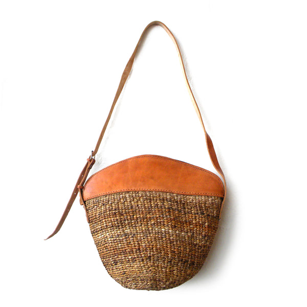 Leather Sisal Bags- Tan solid