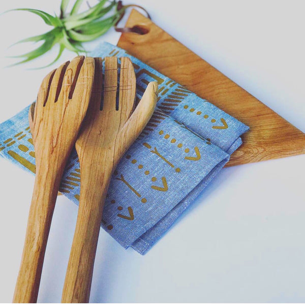 Olive wood salad servers - hands