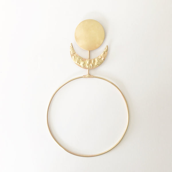 Sun Moon Wall Hanging- Brass