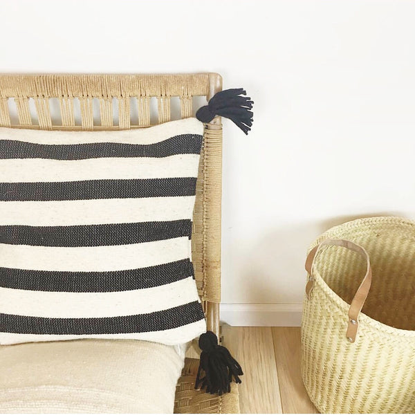 Ancho Stripe Pillow-Black
