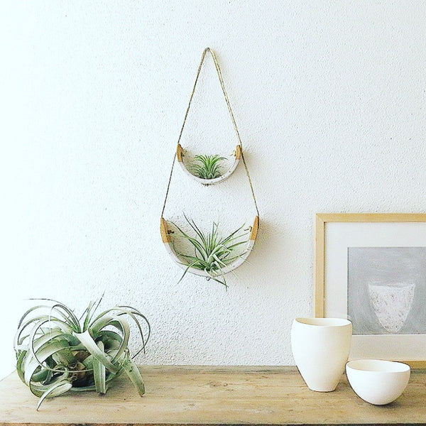 MUDPUPPY HANGING CERAMIC AIR PLANT CRADLE GLOSS WHITE SPECKLED BUFF-LARGE