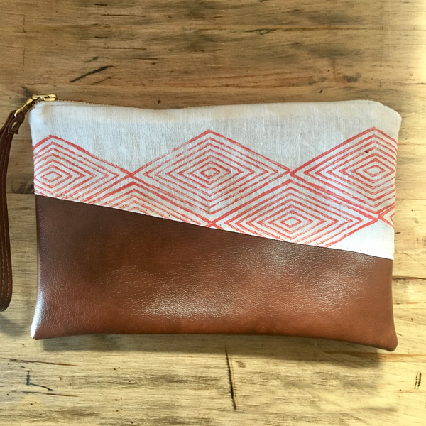 Boho Vegan Leather Clutch - Granada Print