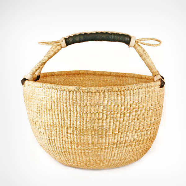 African Bolga Basket - Natural With Leather Handles