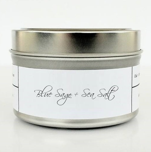 BLUE SAGE + SEA SALT | SILVER TIN - Oak + Amber Candle Company