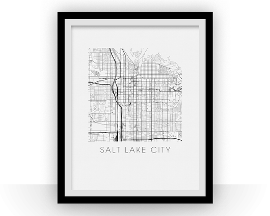 Affiche cartographique de Salt Lake City - Style Noir et Blanc
