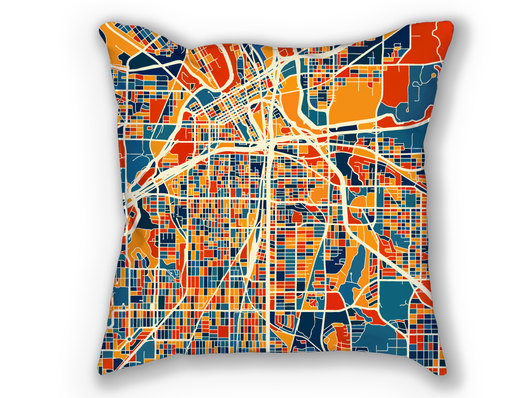 Coussin cartographique de Fort Worth - Style Chroma