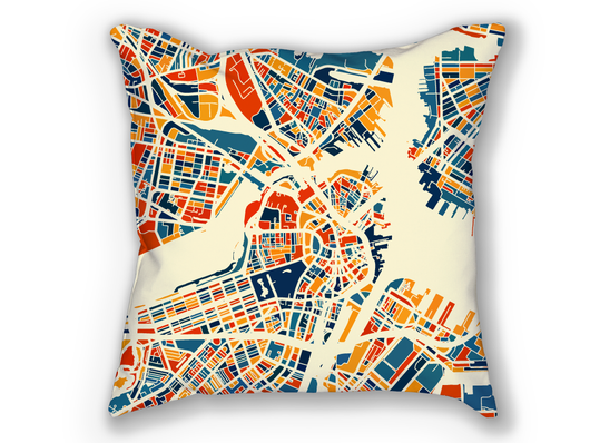 Coussin cartographique de Boston - Style Chroma