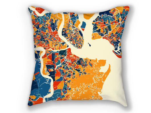 Coussin cartographique de Charleston - Style Chroma