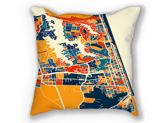 Coussin cartographique de Virginia Beach - Style Chroma