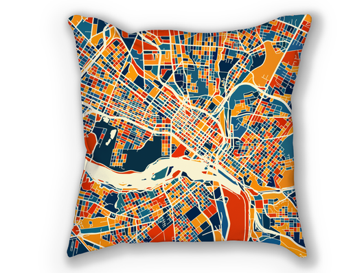 Coussin cartographique de Richmond - Style Chroma