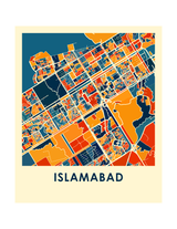 Affiche cartographique de Islamabad - Style Chroma