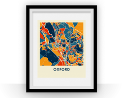 Affiche cartographique de Oxford - Style Chroma