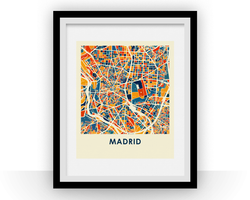 Affiche cartographique de Madrid - Style Chroma