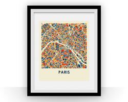 Affiche cartographique de Paris - Style Chroma