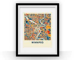 Affiche cartographique de Winnipeg - Style Chroma