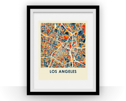 Affiche cartographique de Los Angeles - Style Chroma