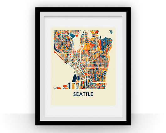 Affiche cartographique de Seattle - Style Chroma