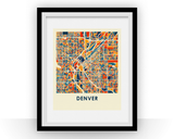 Affiche cartographique de Denver - Style Chroma