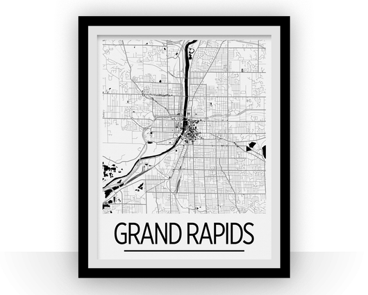 Affiche cartographique de Grand Rapids - Style Art Déco