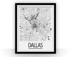Affiche cartographique de Dallas - Style Art Déco