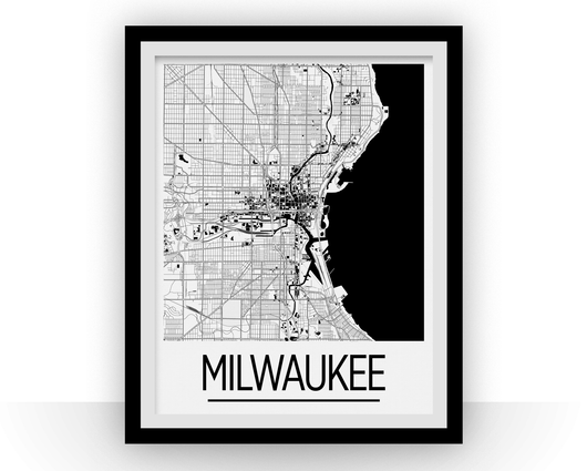 Affiche cartographique de Milwaukee - Style Art Déco