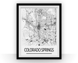 Affiche cartographique de Colorado Springs - Style Art Déco
