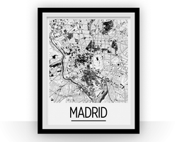 Affiche cartographique de Madrid - Style Art Déco
