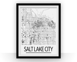 Affiche cartographique de Salt Lake City - Style Art Déco