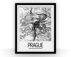 Affiche cartographique de Prague - Style Art Déco
