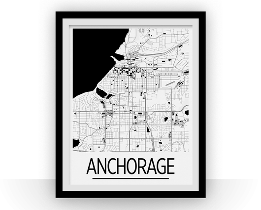 Affiche cartographique de Anchorage - Style Art Déco